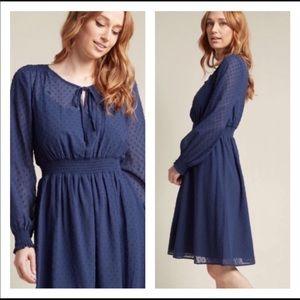 ModCloth blue Swiss dot dress